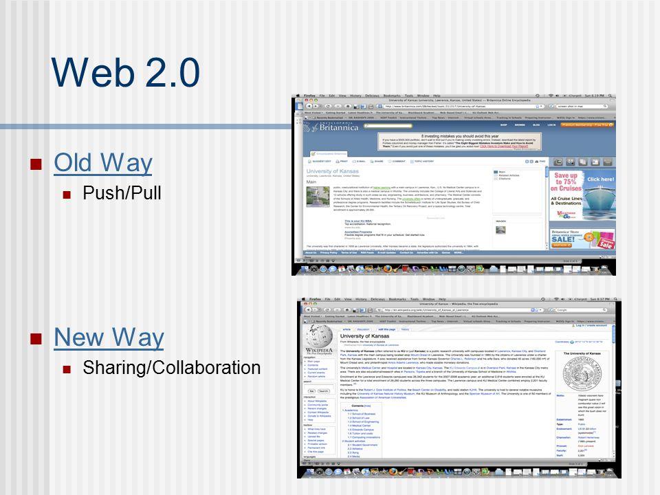 Web 2.0 Old Way Push/Pull New Way Sharing/Collaboration