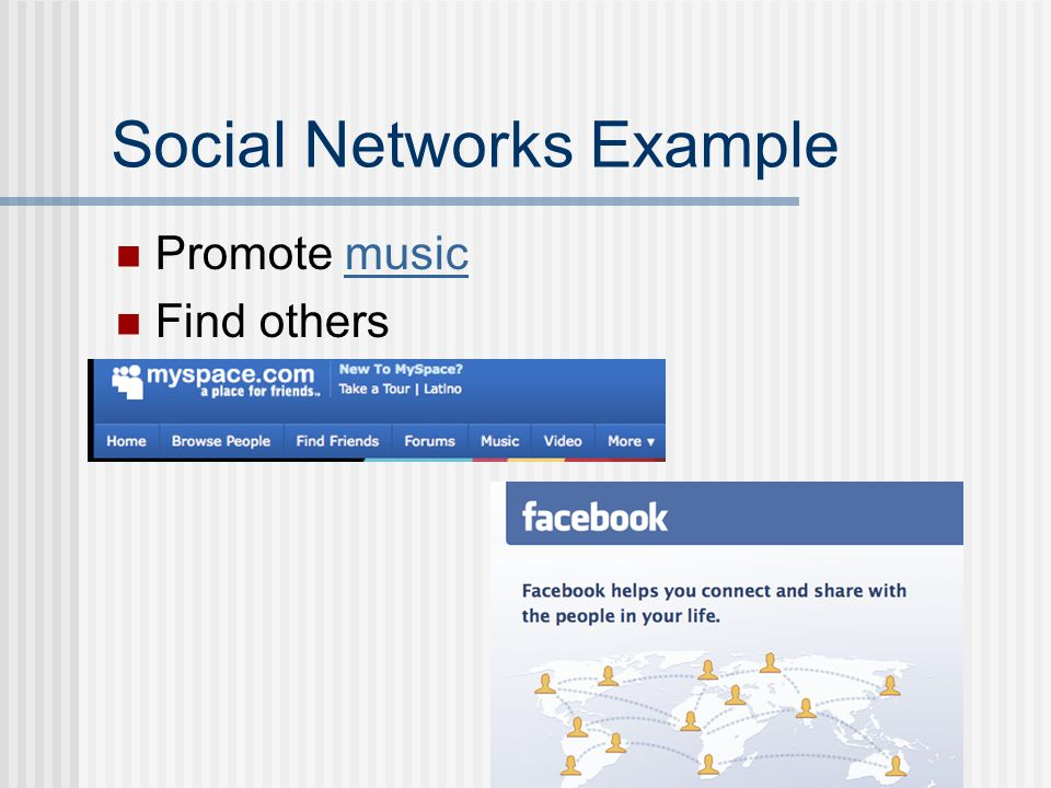 Social Networks Example Promote musicmusic Find others