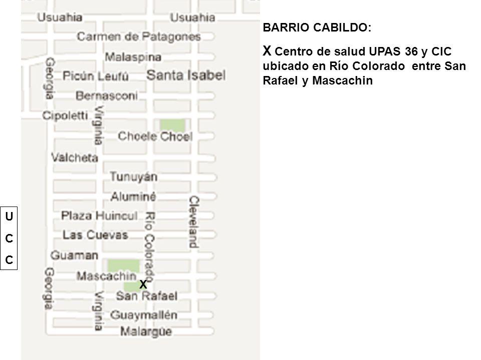 BARRIO CABILDO: X Centro de salud UPAS 36 y CIC ubicado en Río Colorado entre San Rafael y Mascachin X UCCUCC