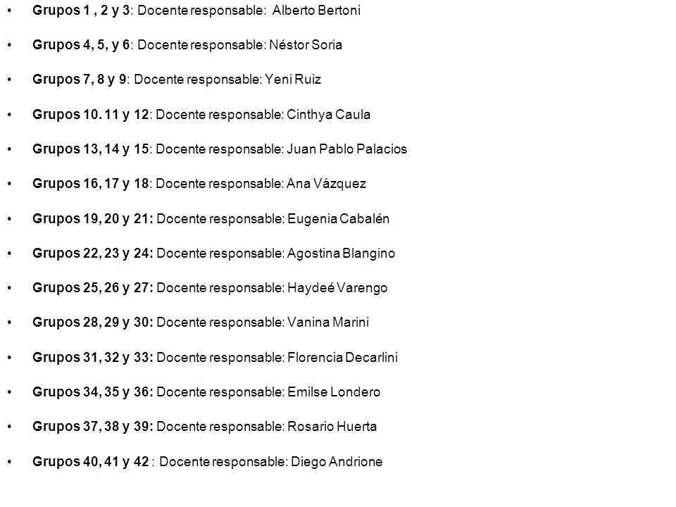Grupos 1, 2 y 3: Docente responsable: Alberto Bertoni Grupos 4, 5, y 6: Docente responsable: Néstor Soria Grupos 7, 8 y 9: Docente responsable: Yeni R