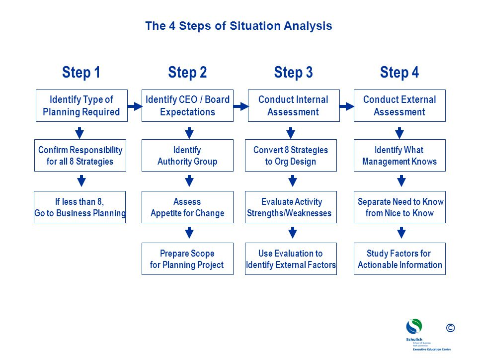 ©© © The 4 Steps of Situation Analysis Identify What Management Knows Separate Need to Know from Nice to Know Study Factors for Actionable Information