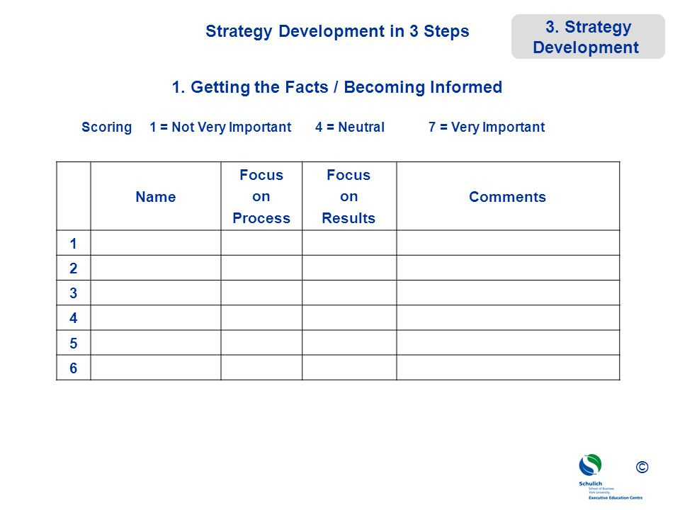 ©© © Strategy Development in 3 Steps Name Focus on Process Focus on Results Comments 1 2 3 4 5 6 Scoring 1 = Not Very Important 4 = Neutral 7 = Very I