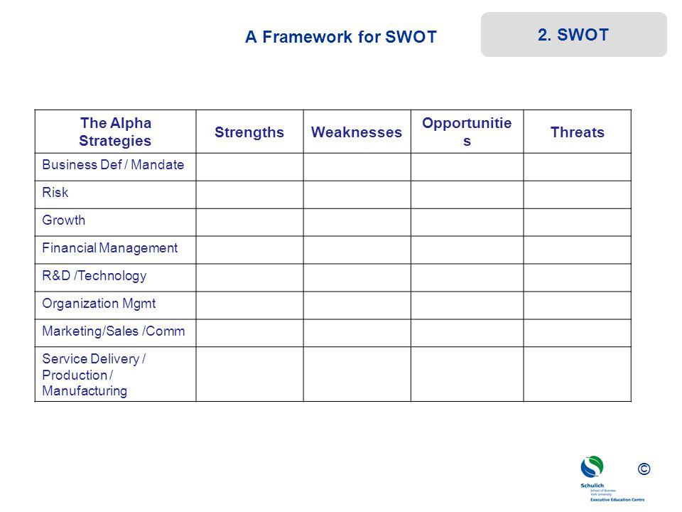 ©© © The Alpha Strategies StrengthsWeaknesses Opportunitie s Threats Business Def / Mandate Risk Growth Financial Management R&D /Technology Organizat