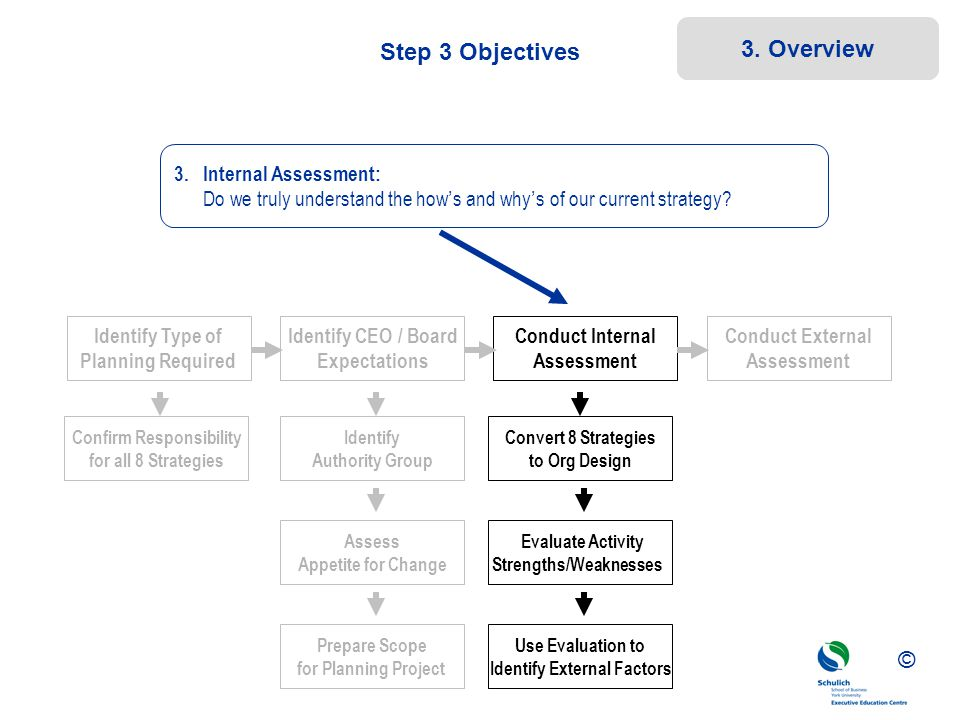 ©© © Step 3 Objectives Convert 8 Strategies to Org Design Evaluate Activity Strengths/Weaknesses Use Evaluation to Identify External Factors Confirm R