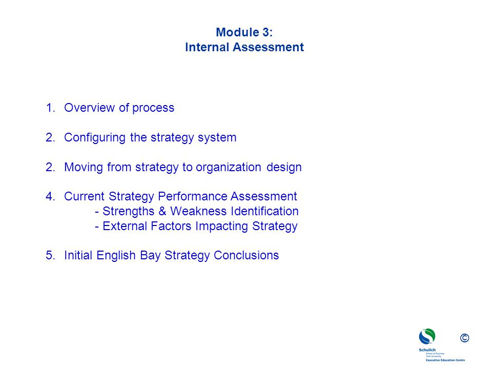 ©© © Module 3: Internal Assessment 1.Overview of process 2.Configuring the strategy system 2.Moving from strategy to organization design 4.Current Str