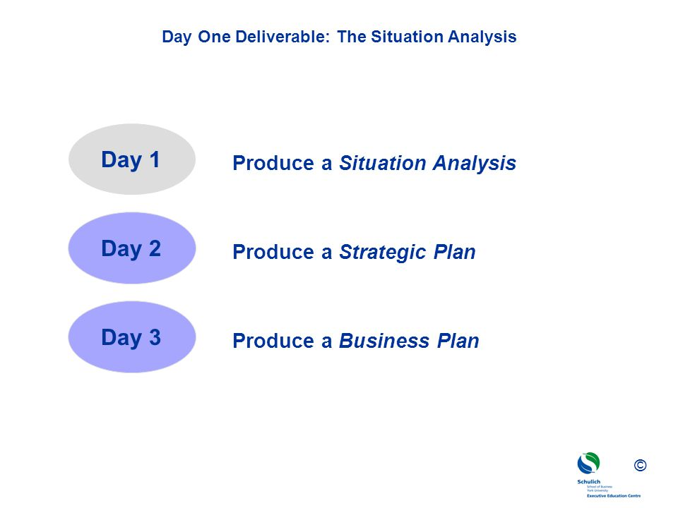 ©© © Day One Deliverable: The Situation Analysis Day 1 Day 2 Day 3 Produce a Situation Analysis Produce a Strategic Plan Produce a Business Plan