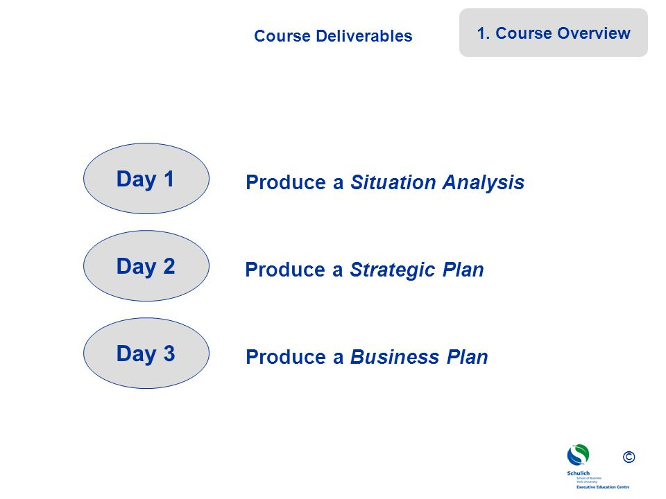 ©© © Course Deliverables Day 1 Day 2 Day 3 Produce a Situation Analysis Produce a Strategic Plan Produce a Business Plan 1. Course Overview