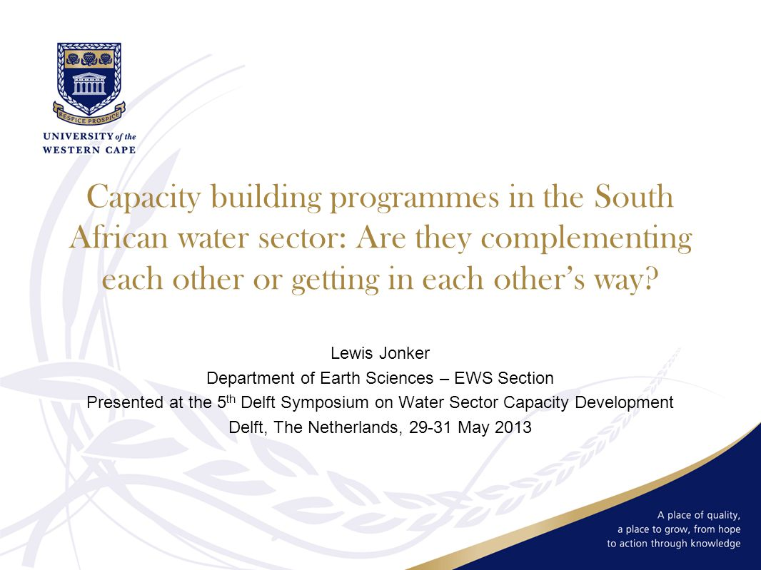 Capacity building programmes in the South African water sector: Are they complementing each other or getting in each other's way.