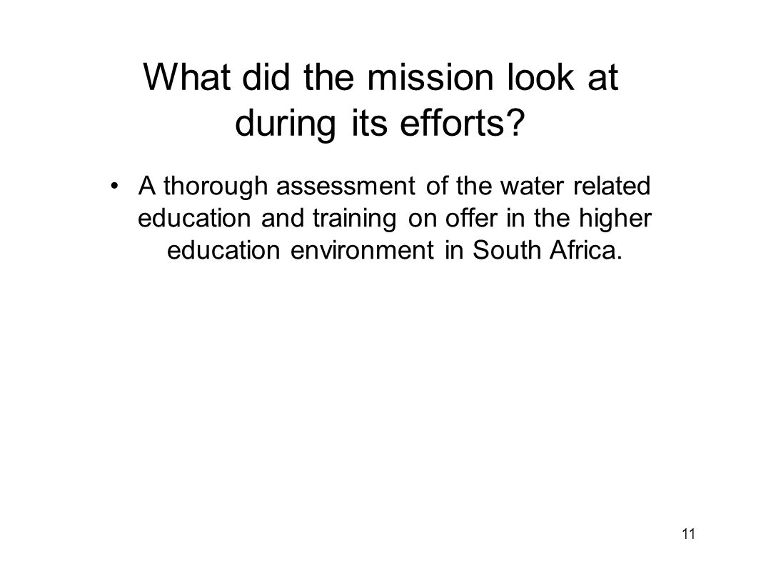 What did the mission look at during its efforts.