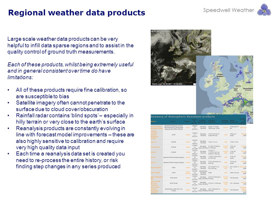 Regional weather data products Large scale weather data products can be very helpful to infill data sparse regions and to assist in the quality control of ground truth measurements.