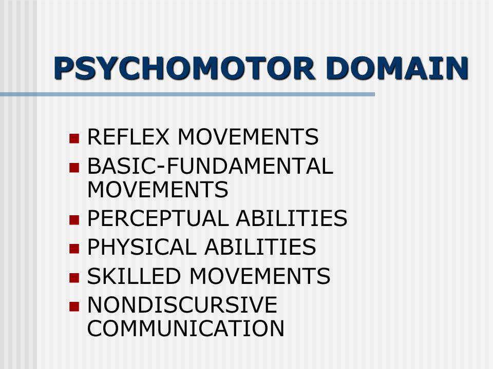 PSYCHOMOTOR DOMAIN REFLEX MOVEMENTS BASIC-FUNDAMENTAL MOVEMENTS PERCEPTUAL ABILITIES PHYSICAL ABILITIES SKILLED MOVEMENTS NONDISCURSIVE COMMUNICATION