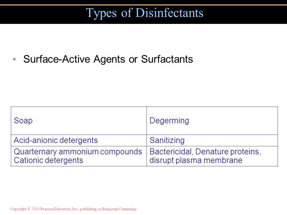 Surface-Active Agents or Surfactants Types of Disinfectants SoapDegerming Acid-anionic detergentsSanitizing Quarternary ammonium compounds Cationic de