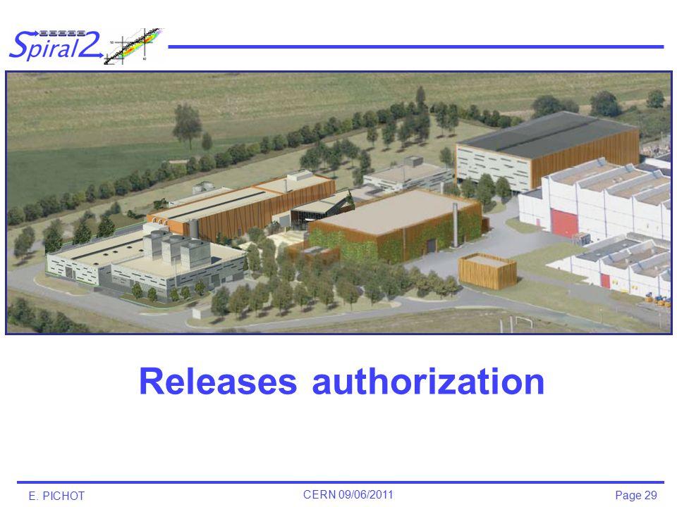 Page 29 E. PICHOT CERN 09/06/2011 Releases authorization