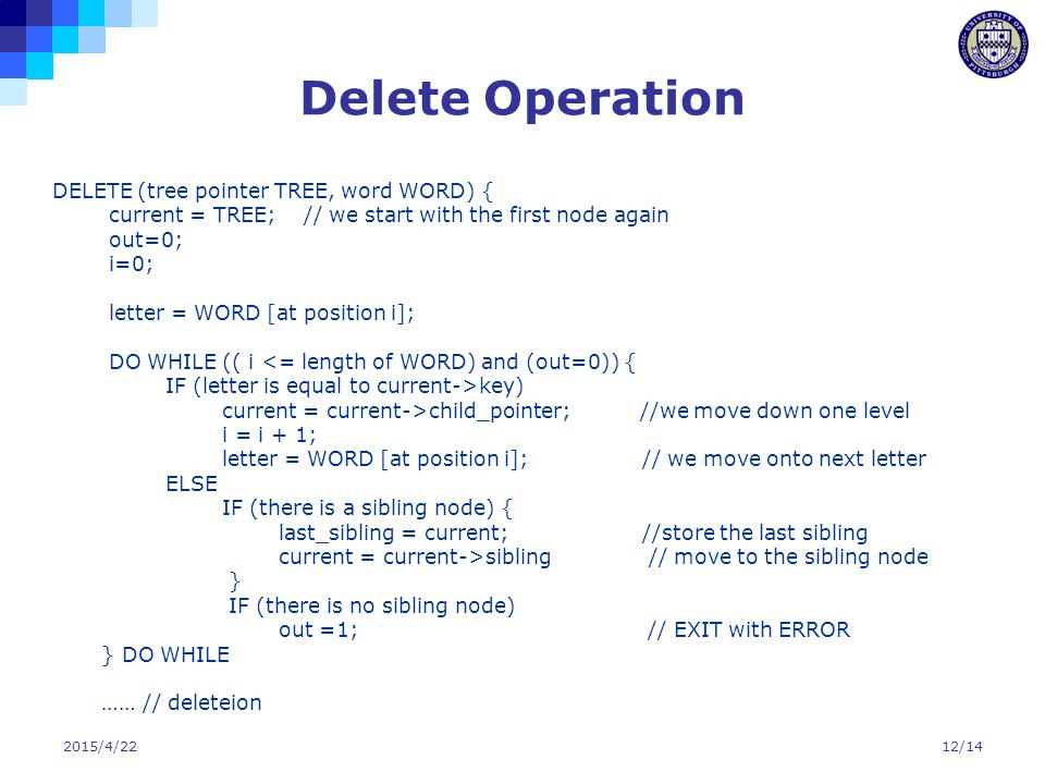 2015/4/2212/14 Delete Operation DELETE (tree pointer TREE, word WORD) { current = TREE; // we start with the first node again out=0; i=0; letter = WOR