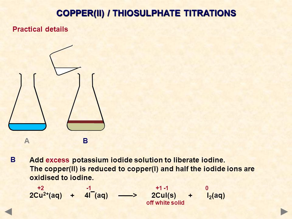 COPPER(II) / THIOSULPHATE TITRATIONS Practical details Titrate with a standard solution of sodium thiosulphate until the solution lightens.