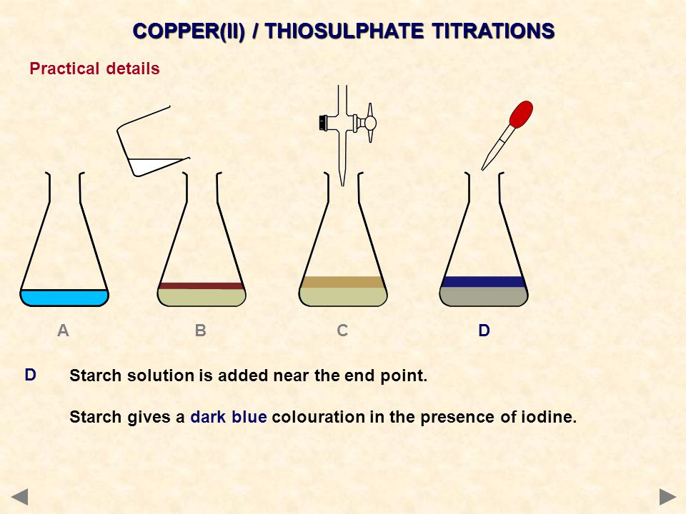 COPPER(II) / THIOSULPHATE TITRATIONS Practical details Continue with the titration, adding the sodium thiosulphate dropwise until the blue colour disappears at the end point.