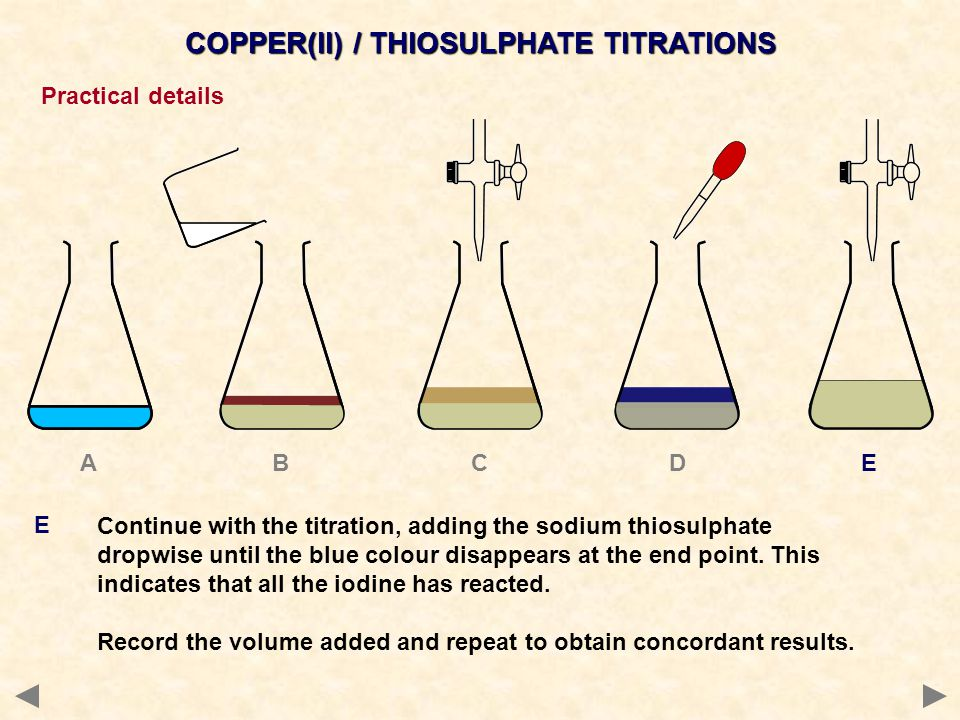 TYPICAL CALCULATIONS Percentage copper in a compound 1 titrate a known mass of copper compound or a known volume of a solution 2 calculate the moles of S 2 O 3 2- needed 3 according to the equation… moles of Cu 2+ = moles of S 2 O 3 2- 4 calculate the number of moles of Cu 2+ 5 calculate the mass of copper by multiplying the moles of copper by the molar mass of copper.