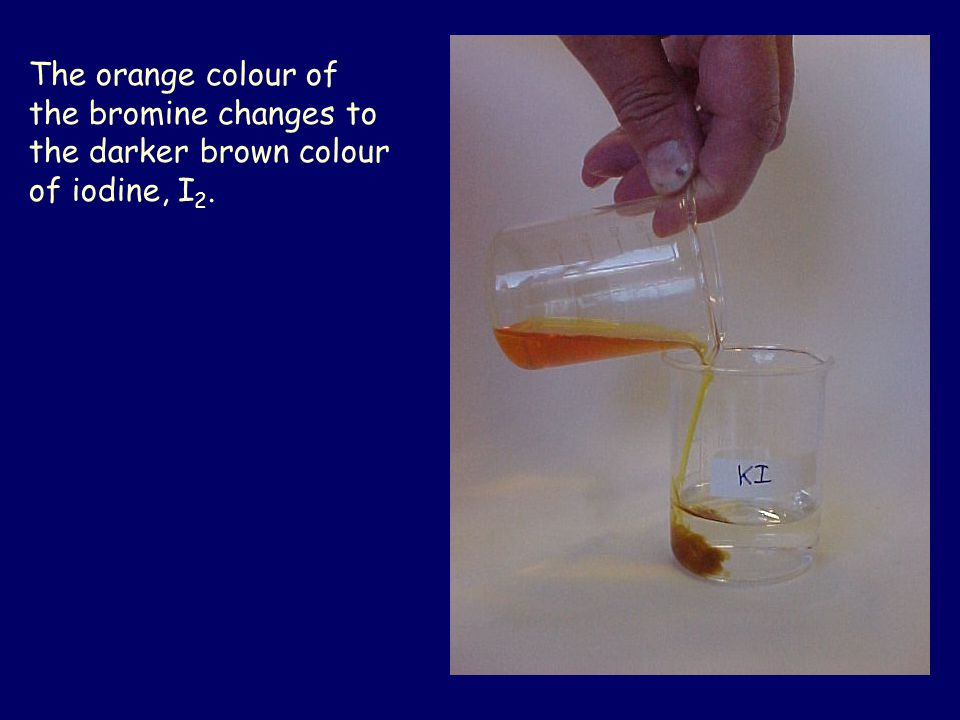 The brown colour of iodine in iodide is clearly seen in this beaker.