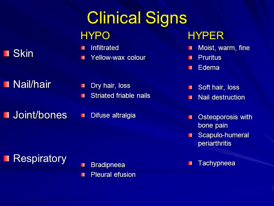 Clinical Signs HYPOInfiltrated Yellow-wax colour Dry hair, loss Striated friable nails Difuse altralgia Bradipneea Pleural efusion HYPER Moist, warm,