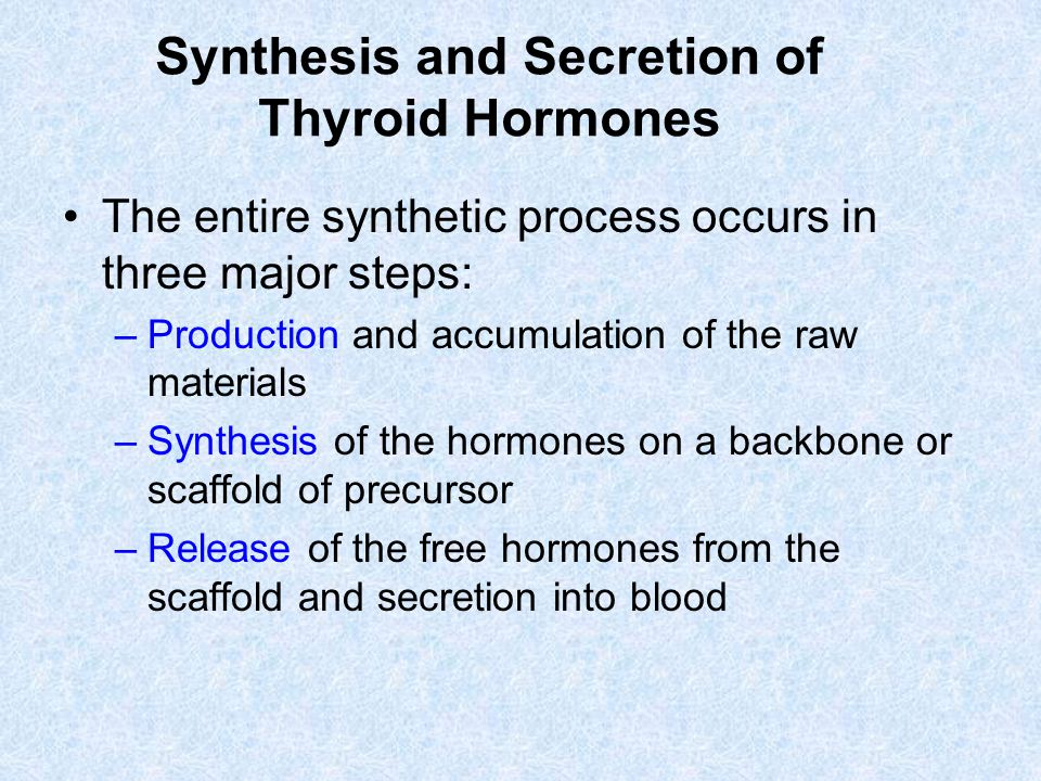 Synthesis and Secretion of Thyroid Hormones The entire synthetic process occurs in three major steps: –Production and accumulation of the raw material