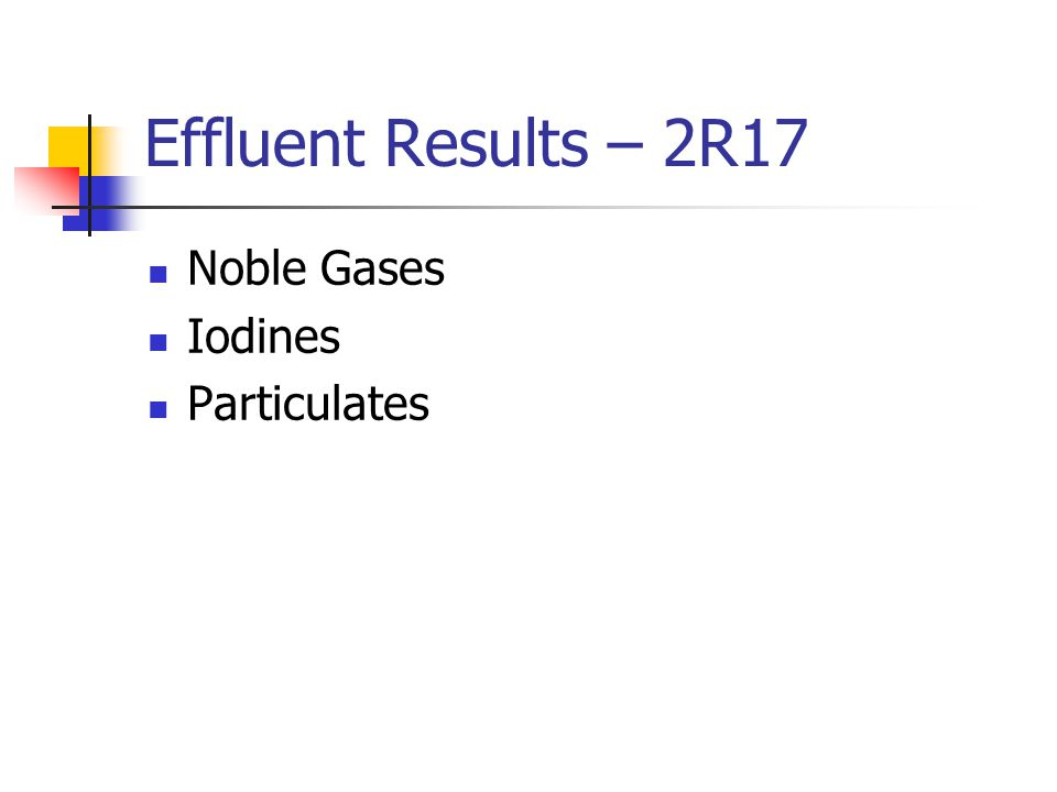 Effluent Results – 2R17 Noble Gases Iodines Particulates