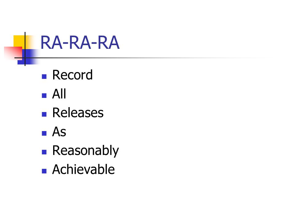 RA-RA-RA Record All Releases As Reasonably Achievable