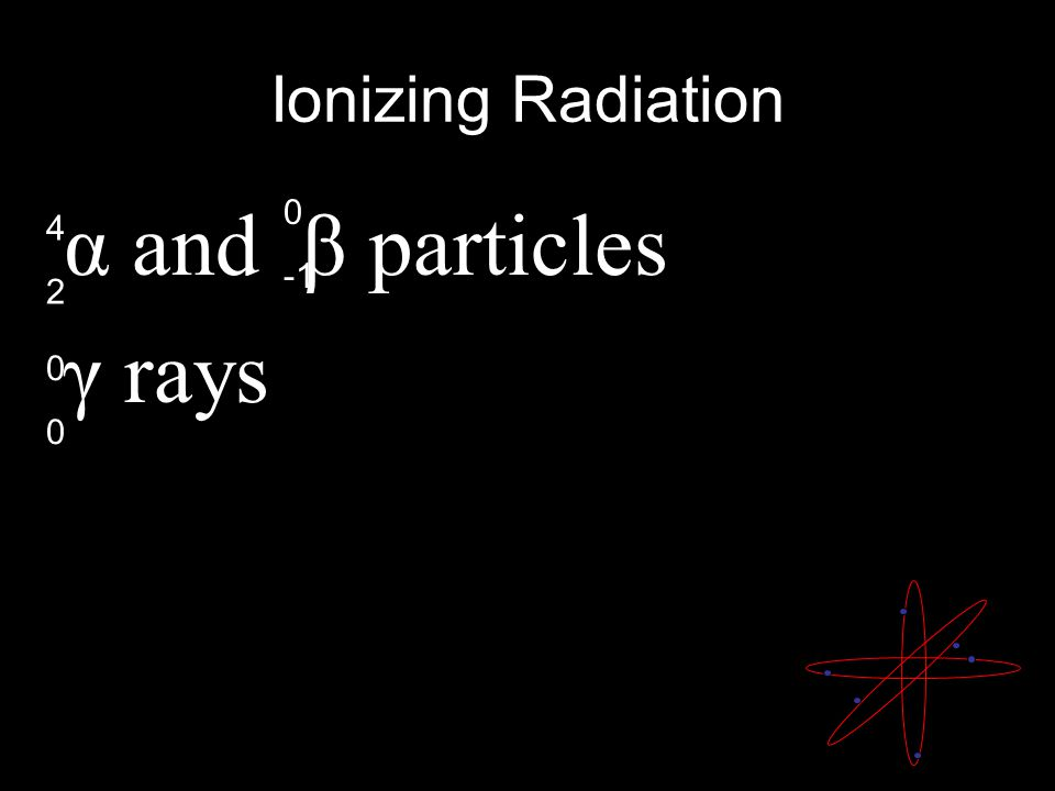 Ionizing Radiation α and β particles γ rays 0000 0 4242 Ionizing radiation forms ions.