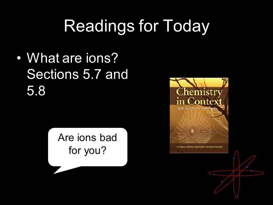 Readings for Today What are ions? Sections 5.7 and 5.8 Are ions bad for you?