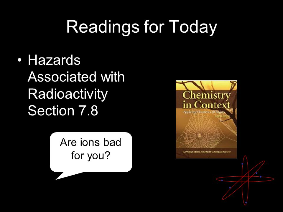 Readings for Today Hazards Associated with Radioactivity Section 7.8 Are ions bad for you?