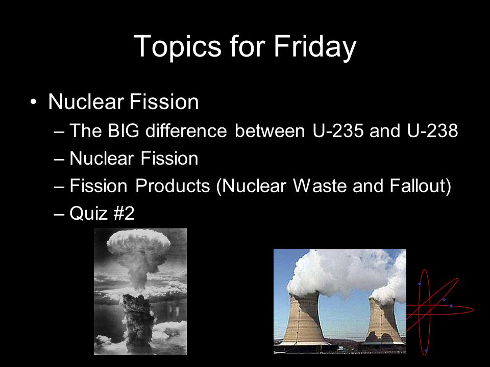 Topics for Friday Nuclear Fission –The BIG difference between U-235 and U-238 –Nuclear Fission –Fission Products (Nuclear Waste and Fallout) –Quiz #2