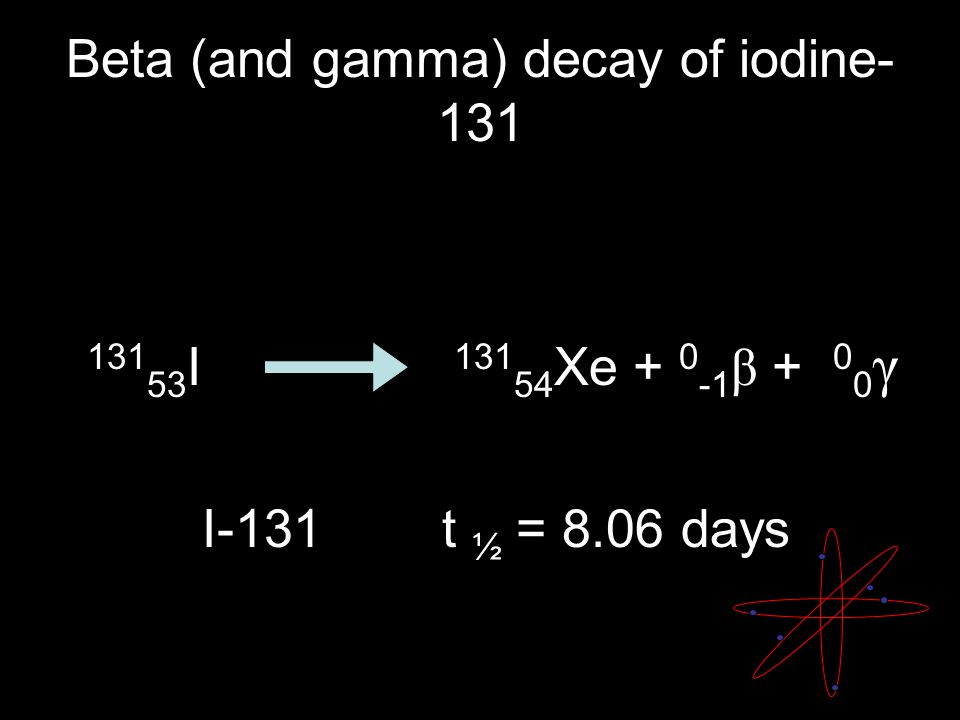 Beta (and gamma) decay of iodine- 131 131 53 I 131 54 Xe + 0 -1 β + 0 0 γ I-131t ½ = 8.06 days