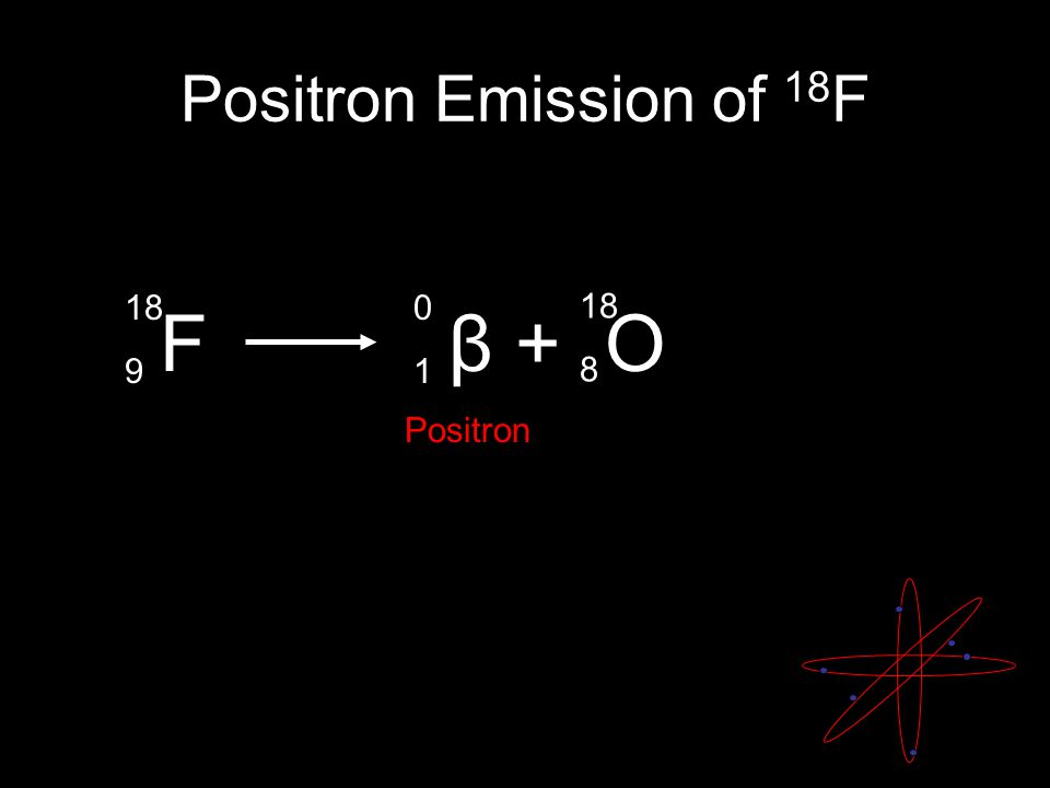 Positron Emission of 18 F F β + O 18 9 0101 18 8 Positron