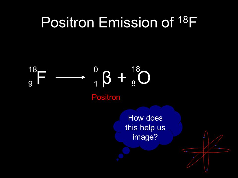 Positron Emission of 18 F F β + O 18 9 0101 18 8 Positron How does this help us image?