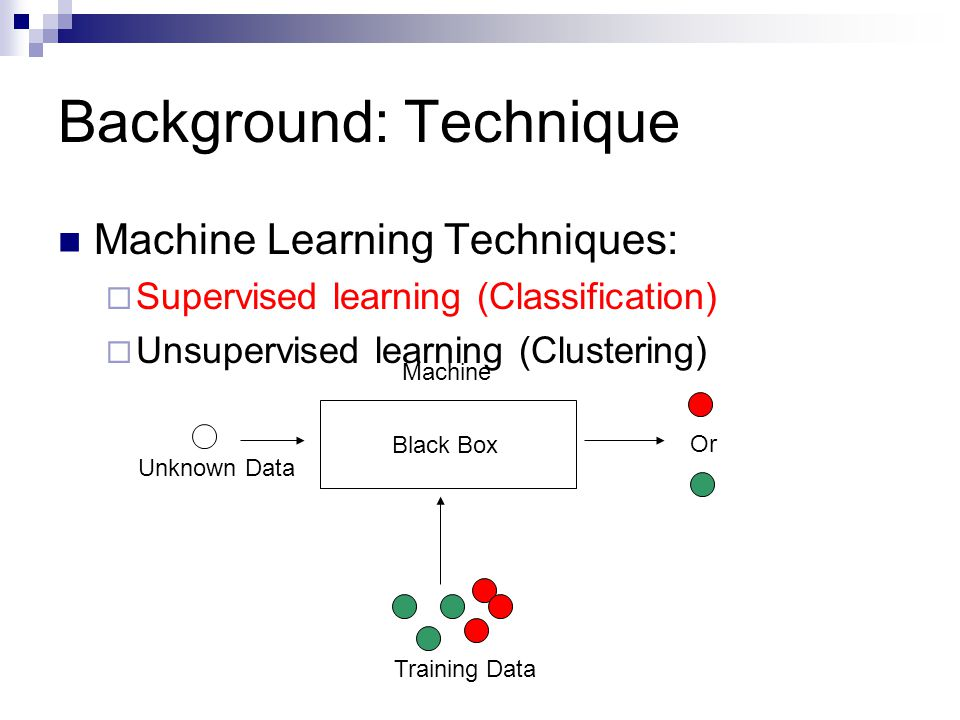 Background: Technique Machine Learning Techniques:  Supervised learning (Classification)  Unsupervised learning (Clustering) Black Box Training Data Unknown Data Or Machine