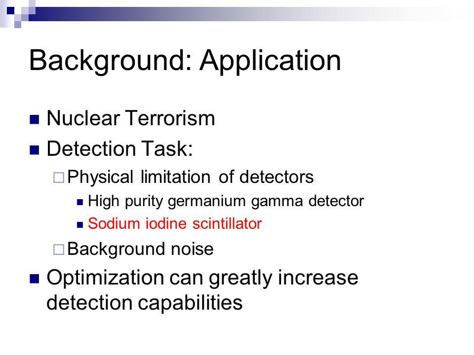 Simulation of materials' present:  Non-radioactive: Latite (igneous rock) Background/blank  Radioactive: Uranium: 235U Plutonium: 239Pu