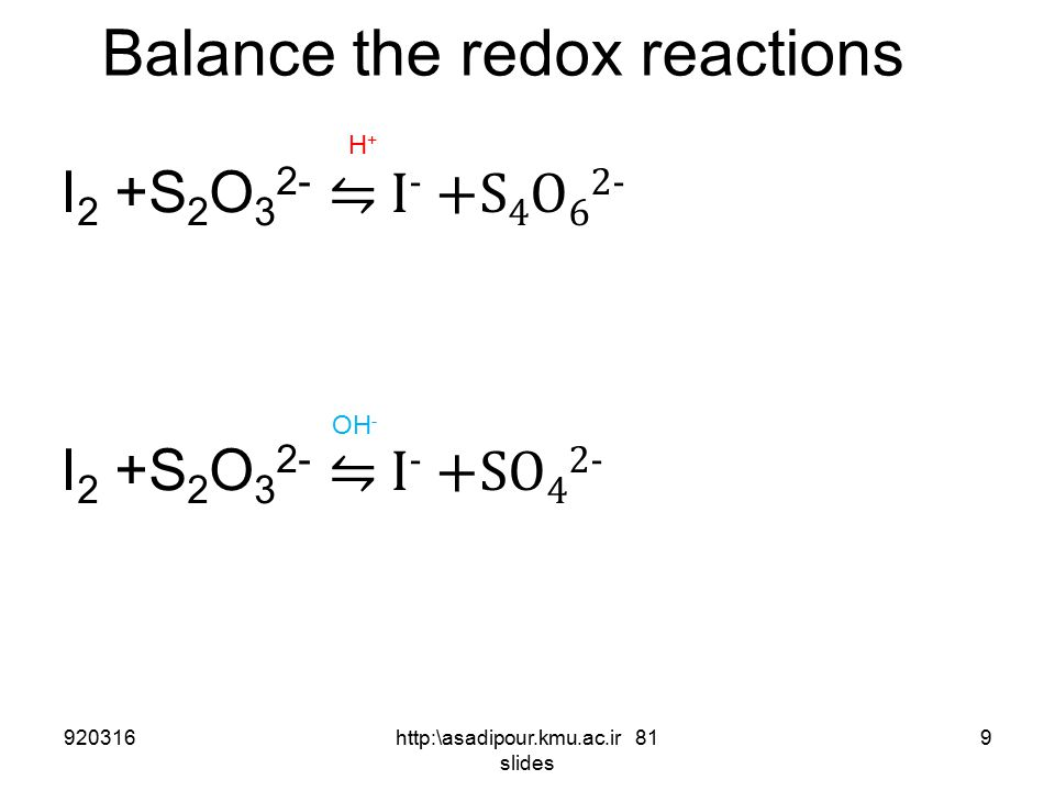 Balancing of redox reactions 6) Equalize of produced and consumed electrons 6e - + 14H + + Cr 2 O 7 -2 (aq)  2Cr 3+ + 7 H 2 O ( H 2 O 2 (aq)  O 2 +