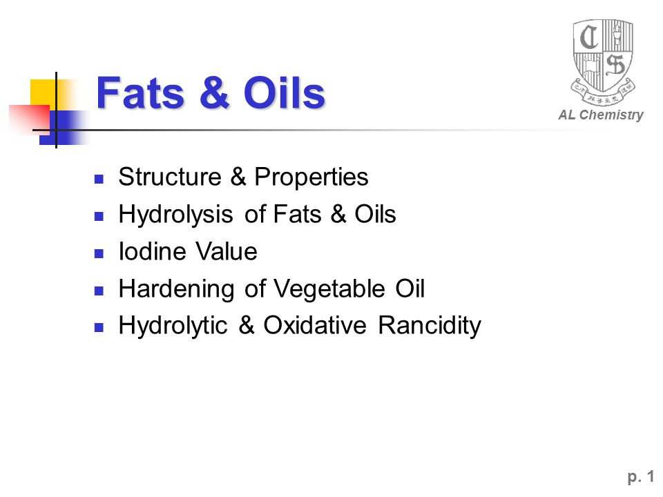 p. 12 Disadvantage of Animal Fats? They contain larger amount of Cholesterol . AL Chemistry