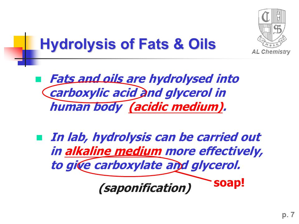 Hydrolysis of Fats & Oils p.