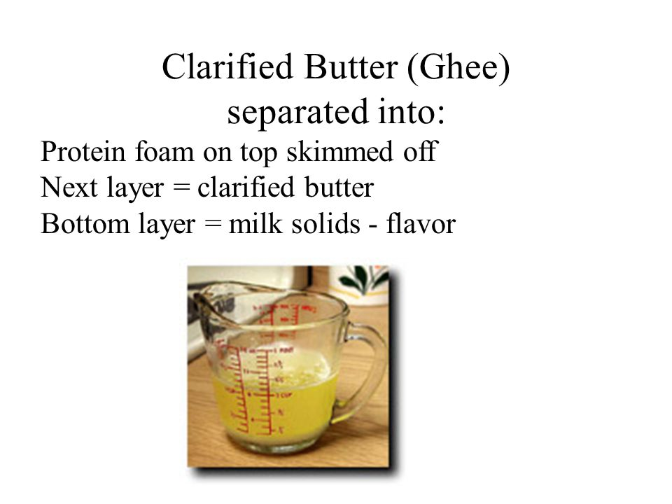 Clarified Butter (Ghee) separated into: Protein foam on top skimmed off Next layer = clarified butter Bottom layer = milk solids - flavor