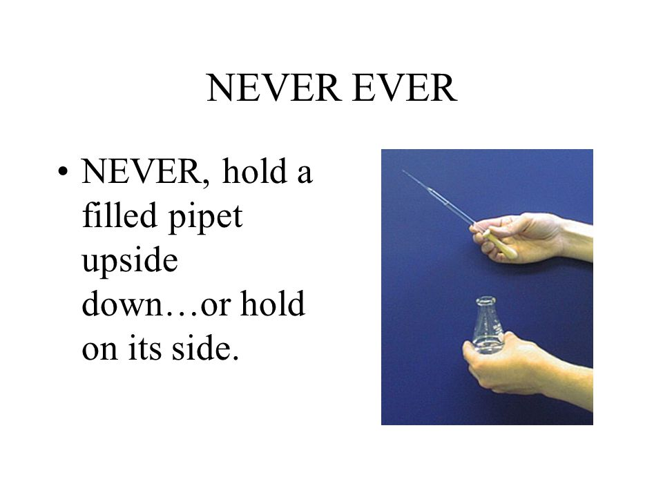 NEVER EVER NEVER, hold a filled pipet upside down…or hold on its side.
