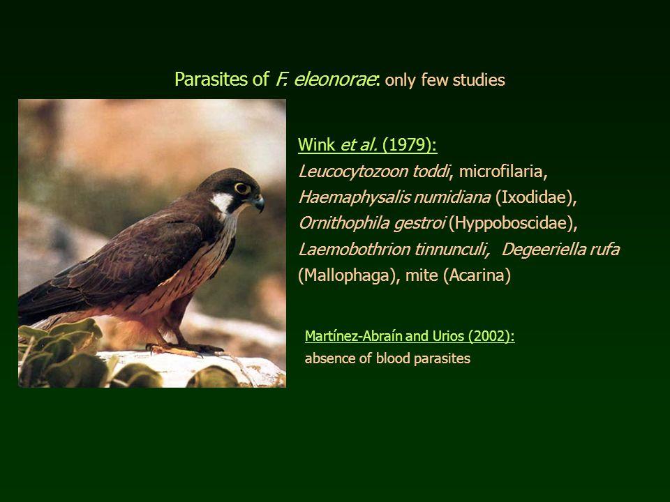Parasites of F. eleonorae: Parasites of F. eleonorae: only few studies Wink et al.