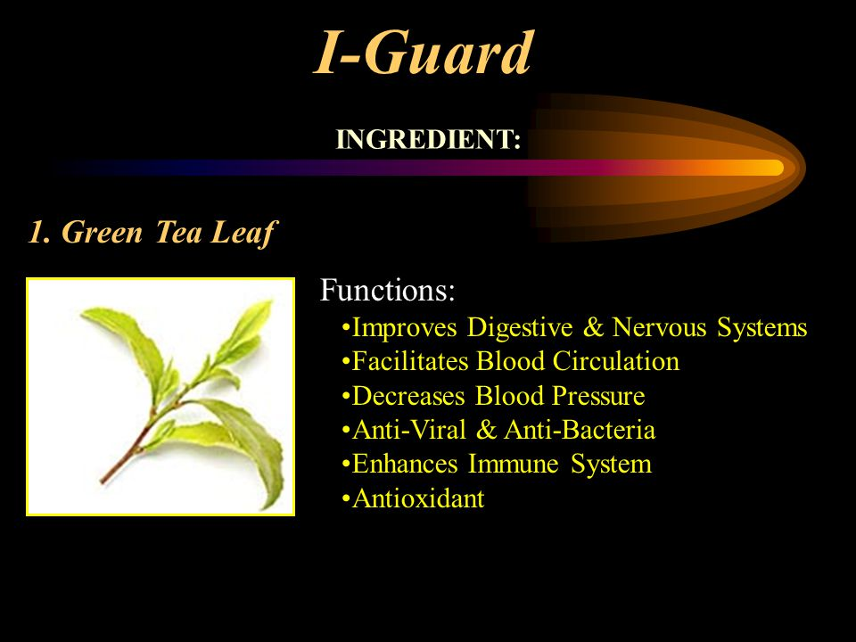 I-Guard INGREDIENT: 1. Green Tea Leaf Functions: Improves Digestive & Nervous Systems Facilitates Blood Circulation Decreases Blood Pressure Anti-Vira