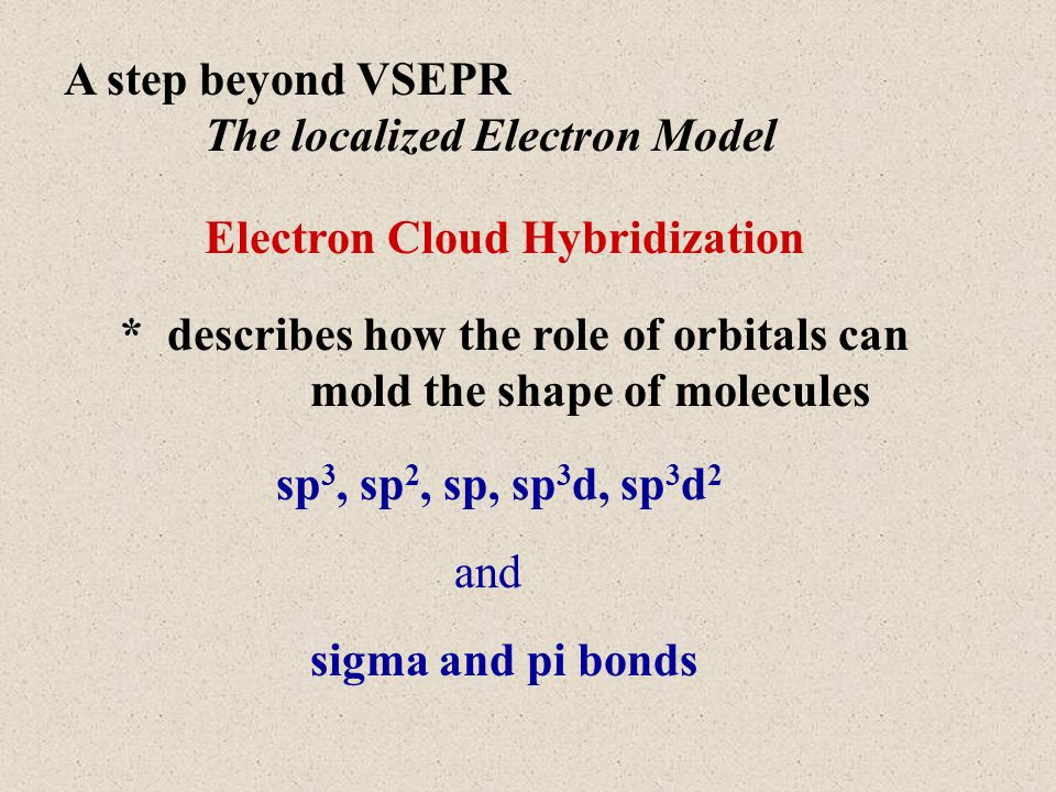 A step beyond VSEPR The localized Electron Model Electron Cloud Hybridization * describes how the role of orbitals can mold the shape of molecules sp 3, sp 2, sp, sp 3 d, sp 3 d 2 sigma and pi bonds and