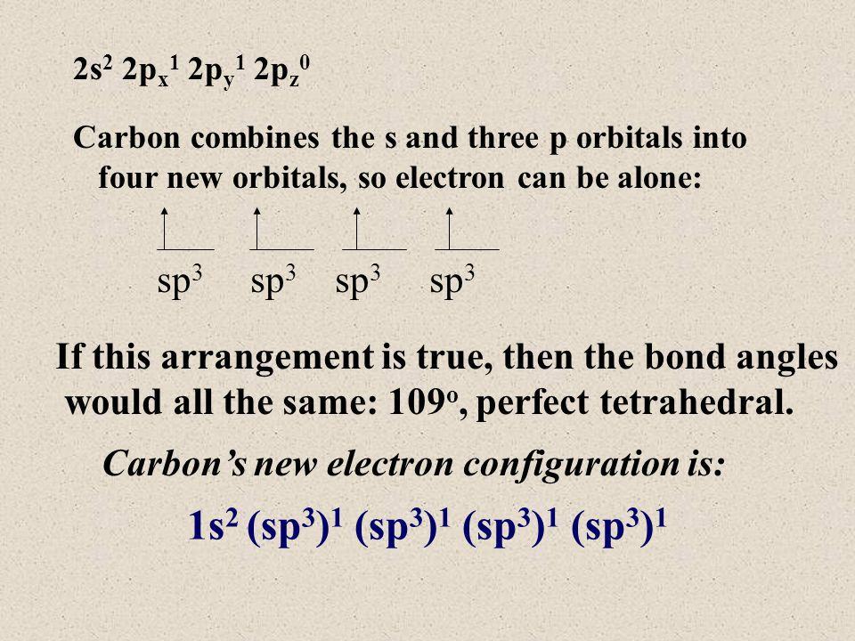 2s 2 2p x 1 2p y 1 2p z 0 Carbon combines the s and three p orbitals into four new orbitals, so electron can be alone: If this arrangement is true, then the bond angles would all the same: 109 o, perfect tetrahedral.