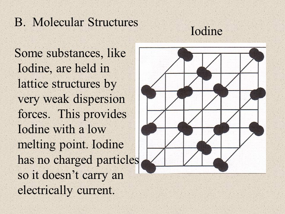 B. Molecular Structures Iodine Some substances, like Iodine, are held in lattice structures by very weak dispersion forces. This provides Iodine with