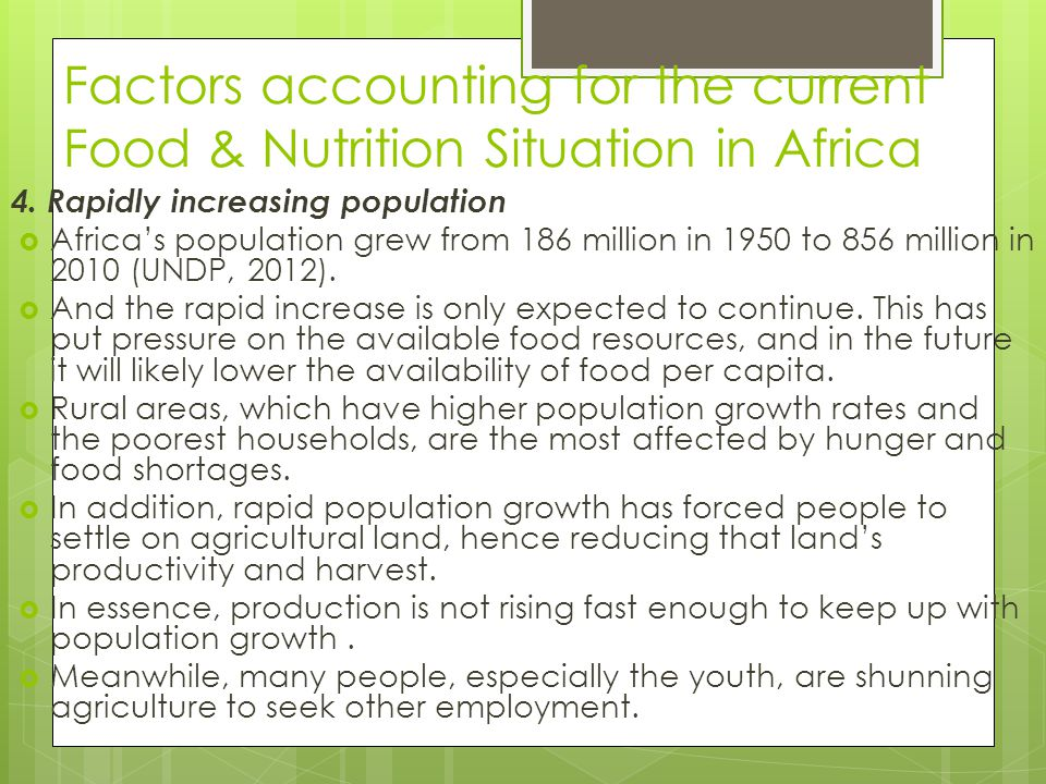 Factors accounting for the current Food & Nutrition Situation in Africa 4. Rapidly increasing population  Africa's population grew from 186 million i