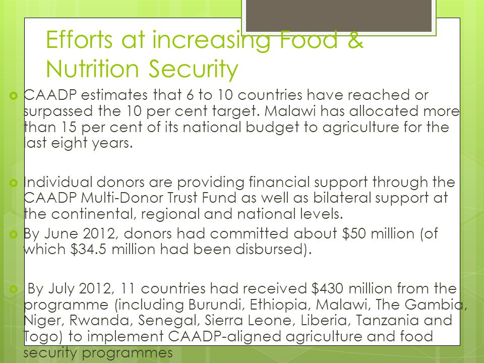 Efforts at increasing Food & Nutrition Security  CAADP estimates that 6 to 10 countries have reached or surpassed the 10 per cent target. Malawi has