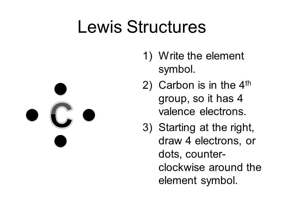 Lewis Structures 1)Write the element symbol. 2)Carbon is in the 4 th group, so it has 4 valence electrons. 3)Starting at the right, draw 4 electrons,
