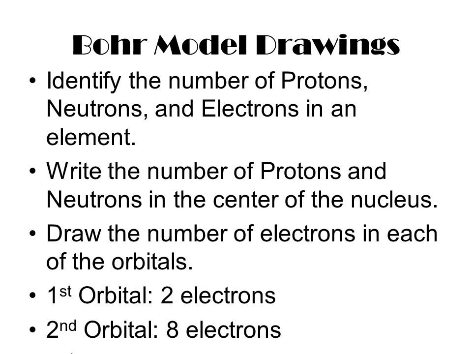 Bohr Model Drawings Identify the number of Protons, Neutrons, and Electrons in an element. Write the number of Protons and Neutrons in the center of t