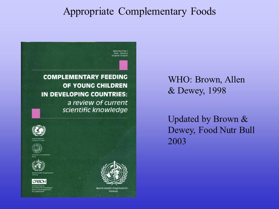 Appropriate Complementary Foods Updated by Brown & Dewey, Food Nutr Bull 2003 WHO: Brown, Allen & Dewey, 1998